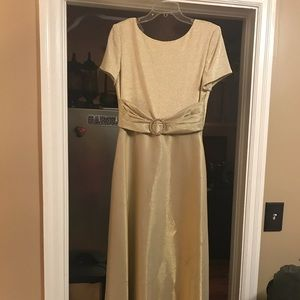 Nightway collections metallic gold gown
